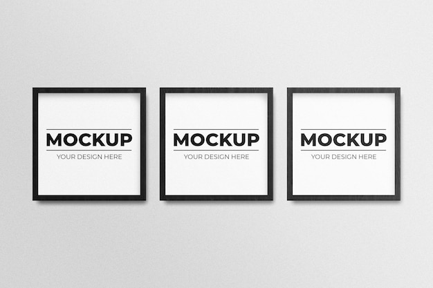 Realistisch zwart vierkant fotolijstmodel op de muur