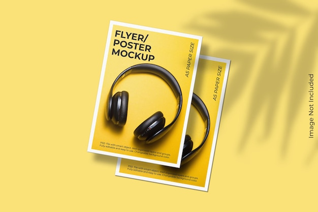 Realistisch zwevend flyer-brochuremodel met schaduwoverlay