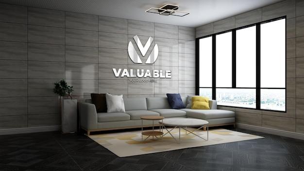 Realistische 3d bedrijfslogo mockup in de moderne wachtkamer van de kantoorlobby