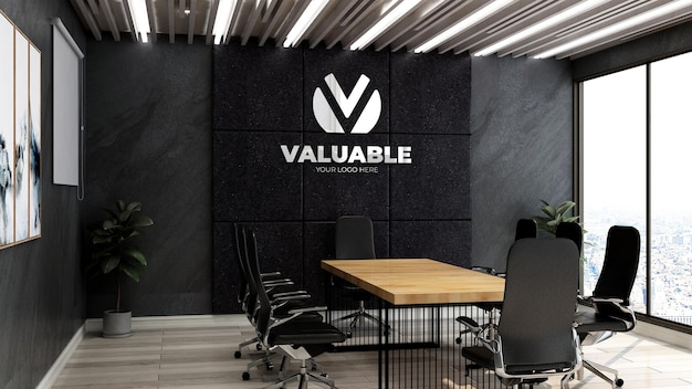 Realistische 3d bedrijfslogo mockup in kantoor zakelijke bijeenkomst roo