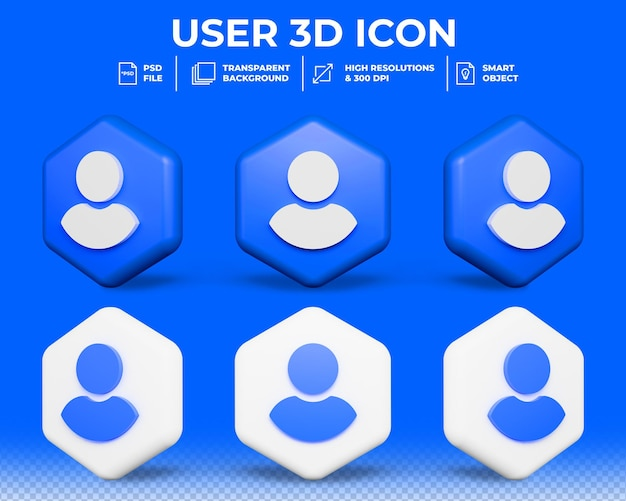 Realistische 3d-gebruikersprofiel geïsoleerd 3d-pictogram