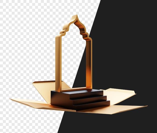 Realistische 3d geopende geschenk of doos met trappen en islamitische moskeedeur of vormen geïsoleerd