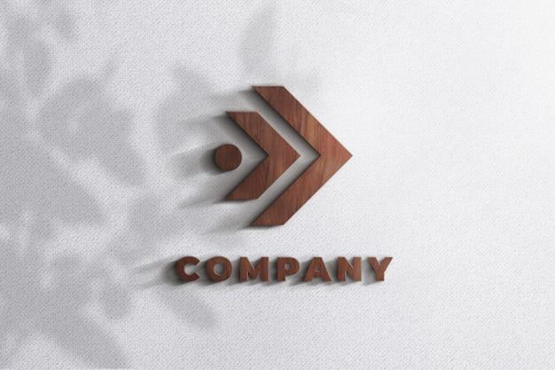 Realistische 3d hout logo mockup textuur muur sjabloon