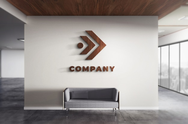 Realistische 3d logo wood mockup office wall texture