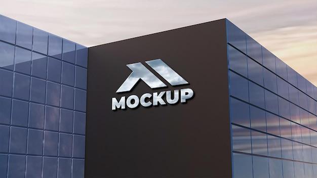 Realistische 3d-muur logo mockup-ontwerp