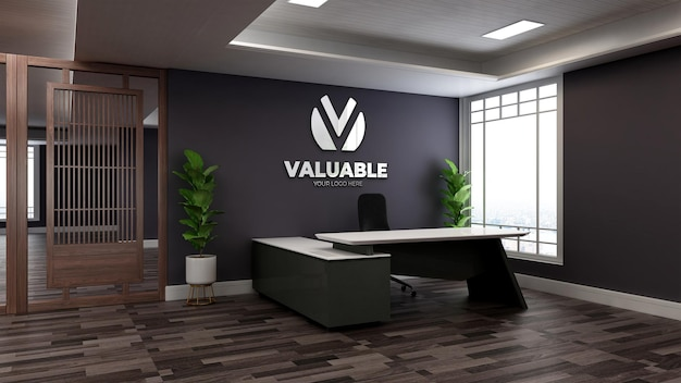 Realistische 3d-muurlogo-mockup in de kantoorreceptioniste