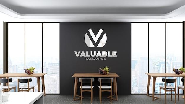 Realistische 3d-muurlogo-mockup in de voorraadkamer op kantoor