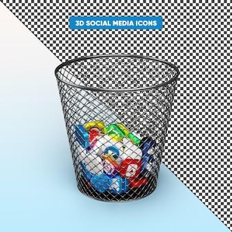 Realistische 3d social media-iconen in de weergave van de prullenbak