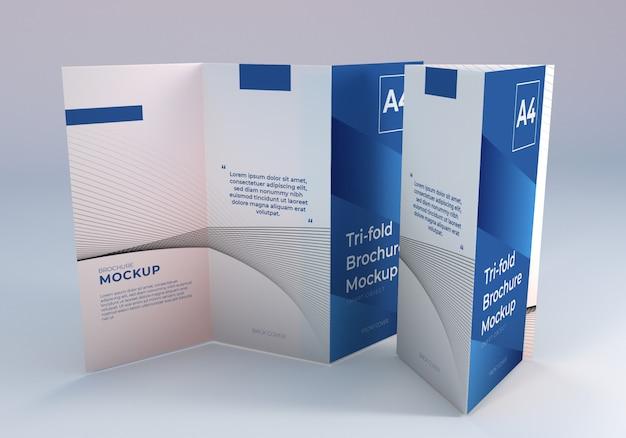 Realistische a4 driebladige brochure mockup