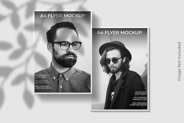 Realistische a4 flyer brochure mockup met schaduw overlay
