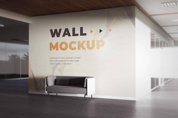 Realistische achtergrond office wallpaper mocukup-sjabloon