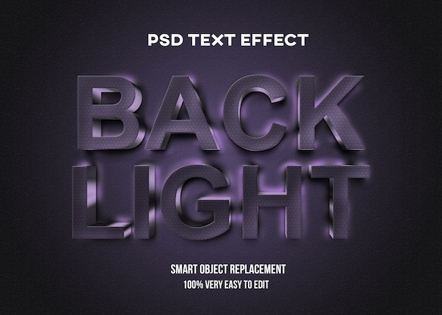 Realistische achtergrondverlichting donkere teksteffect sjabloon