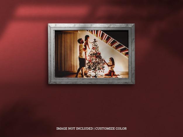 Realistische antiek kerstviering muur framing slagschaduw mockup