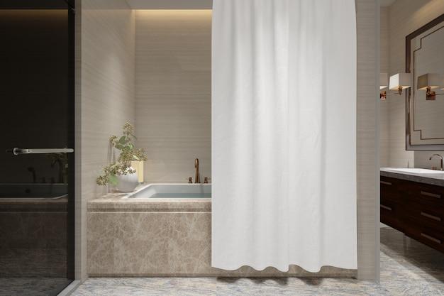 Realistische badkamer met bad en toilet in een modern huis