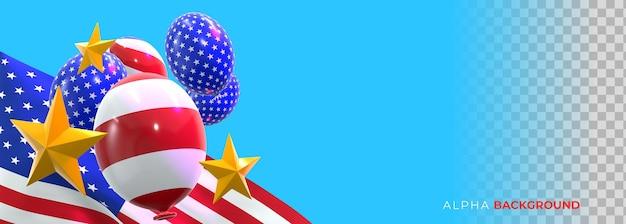 Realistische banners 4 juli onafhankelijkheidsdag. 3d illustratie
