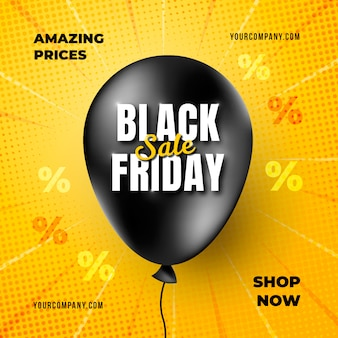 Realistische black friday-banner met ballonsjabloon