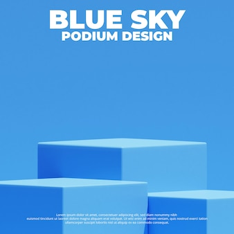 Realistische blauwe productpodium 3d-rendering