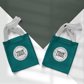Realistische boodschappentassen mockup set