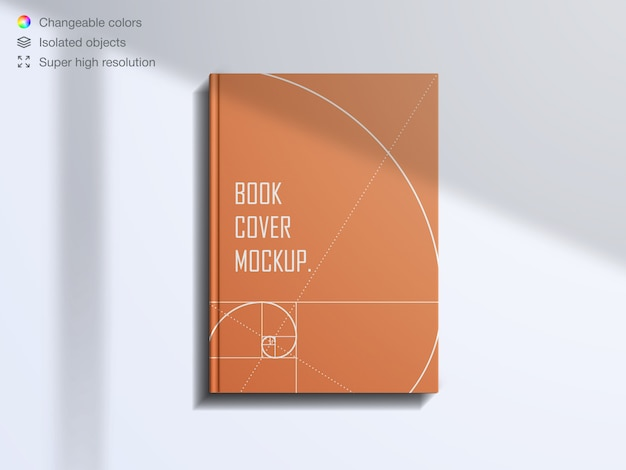 Realistische bovenaanzicht boekomslag met mockup met schaduwoverlay