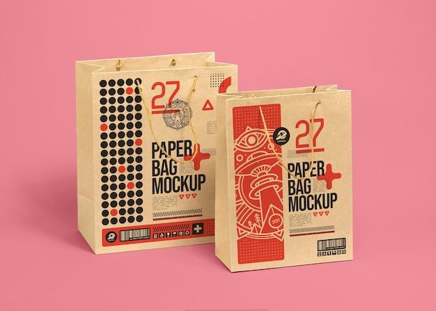 Realistische bruine papieren zak mockup