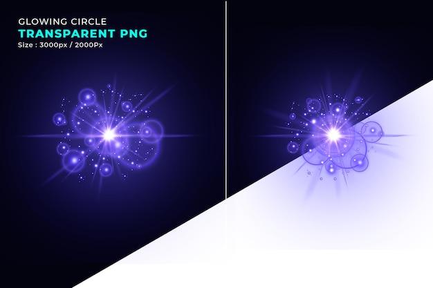 Realistische cirkel lichteffecten paarse sjabloon met heldere vlekken lens