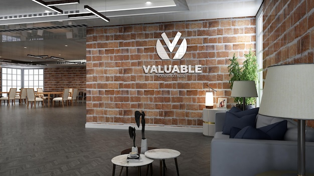 Realistische coffeeshop logo mockup in café of restaurant met bakstenen muur