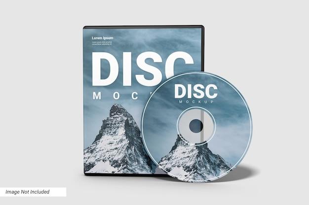 Realistische compact disc en case mockup