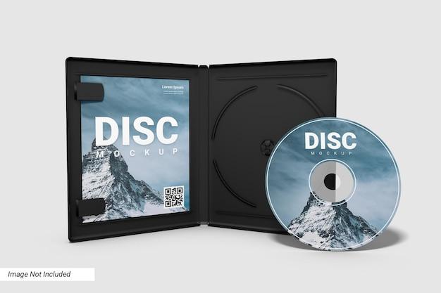 Realistische compact disc en open case mockup