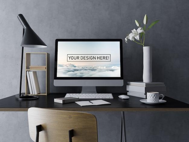 Realistische desktop pc mockup ontwerpsjabloon met bewerkbaar scherm in moderne zwarte interieur werkruimte