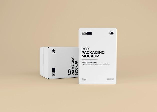 Realistische doos mockup in 3d-weergave geïsoleerd