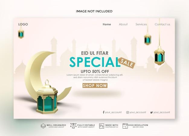 Realistische eid-bestemmingspagina en verkoopbanner met 3d maan