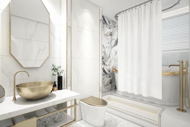 Realistische elegante badkamer met bad