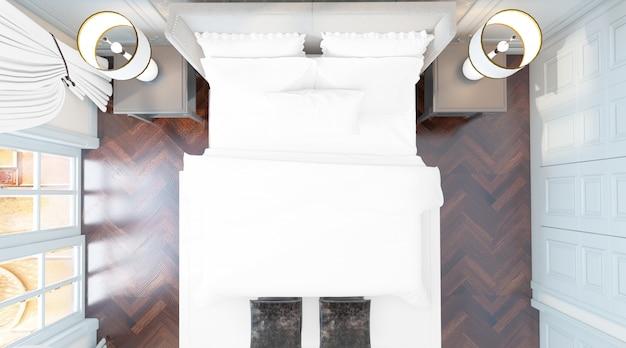 Realistische elegante tweepersoonsslaapkamer met meubels en grote ramen op bovenaanzicht
