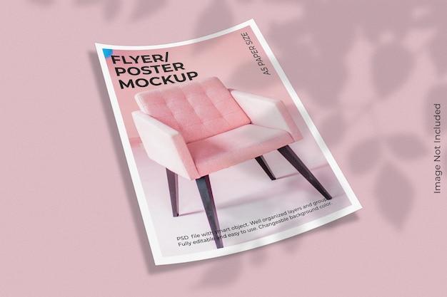 Realistische flyer brochure mockup met schaduw overlay