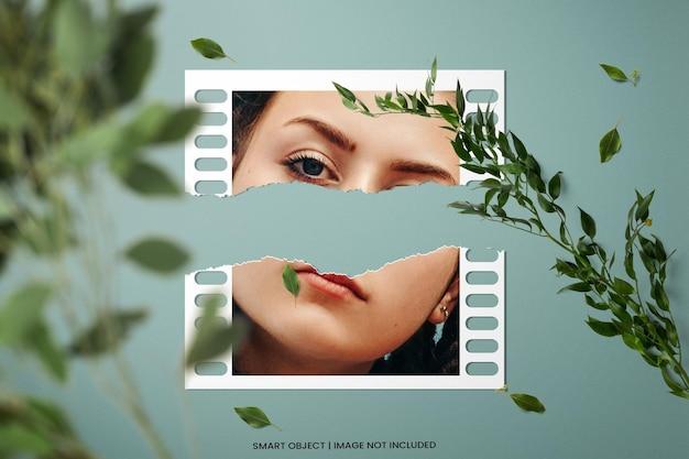 Realistische fotolijst polaroid mockup met gescheurde effectsjabloon premium psd