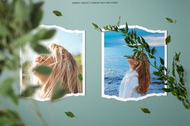 Realistische fotolijst polaroid mockup-sjabloon premium psd