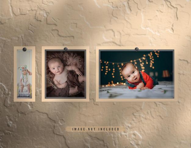 Realistische fotolijstset voor wandmontage met stofeffect