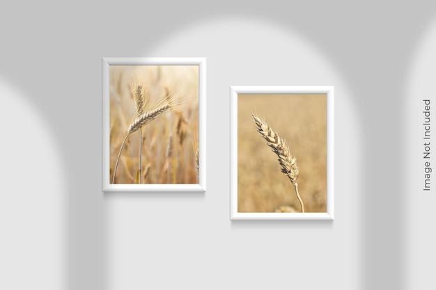 Realistische frames mockup opknoping op de muur met schaduw overlay