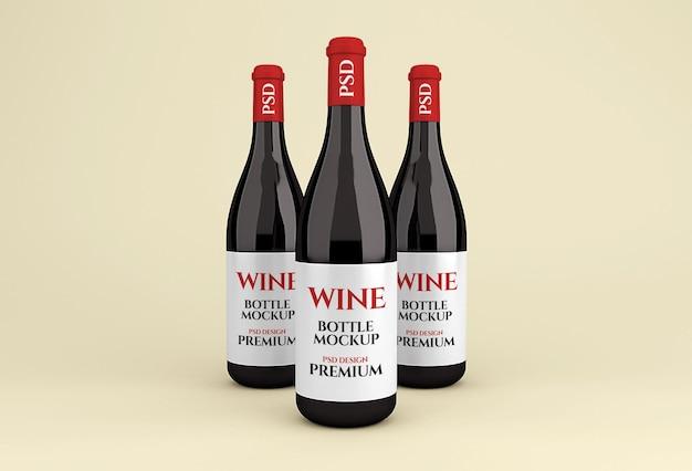Realistische glazen rode wijnfles mockup