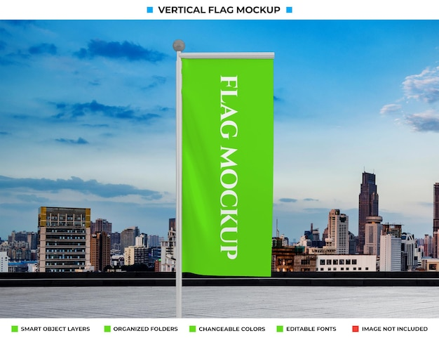 Realistische golf verticale vlag mockup ontwerp
