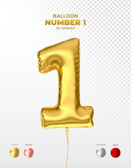 Realistische gouden folieballon van nummer 1 afgesneden Premium Psd