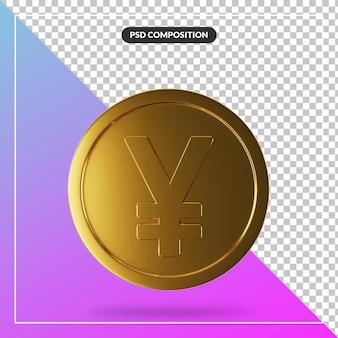 Realistische gouden yen muntstuk in 3d render geïsoleerd