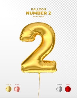 Realistische goudfolieballon van nummer 2 afgesneden Premium Psd
