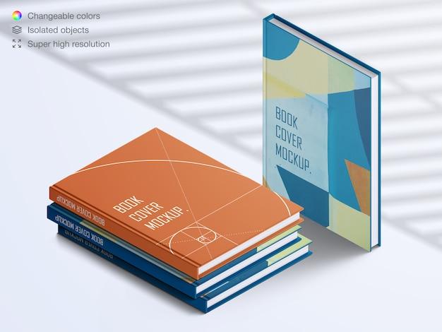 Realistische hardcover boek met hoge hoek en stapel boeken met mockup met schaduwoverlay