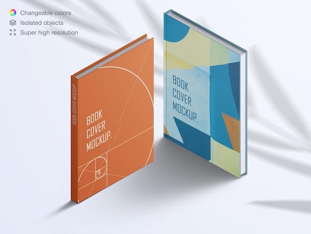 Realistische hardcover boeken met hoge hoek met mockup met schaduwoverlay