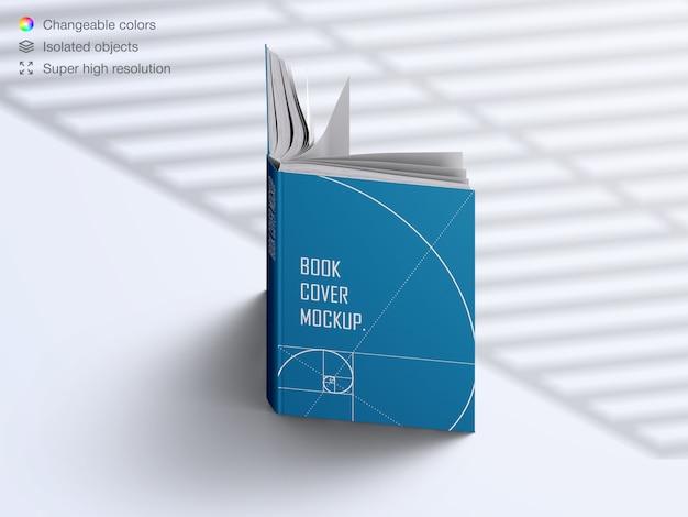Realistische hoge hoek geopende hardcover boek met schaduw overlay mockup