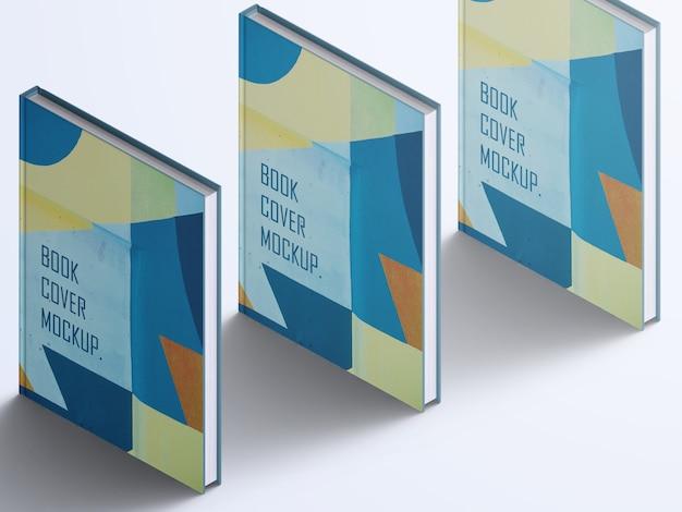 Realistische hoge hoek verticale boeken hardcover mockup