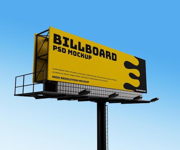 Realistische horizontale advertentie buiten billboard 3d render mockup