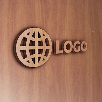 Realistische houten effect 3d-logo mockup
