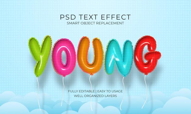 Realistische jonge ballonnen teksteffect sjabloon